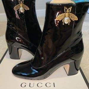NWT AUTHENTIC GUCCI Lois Patent Leather Bee Bootie